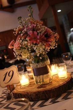 Mason Jar Wedding Centerpieces Rustic B Centerpiece Set Of 3