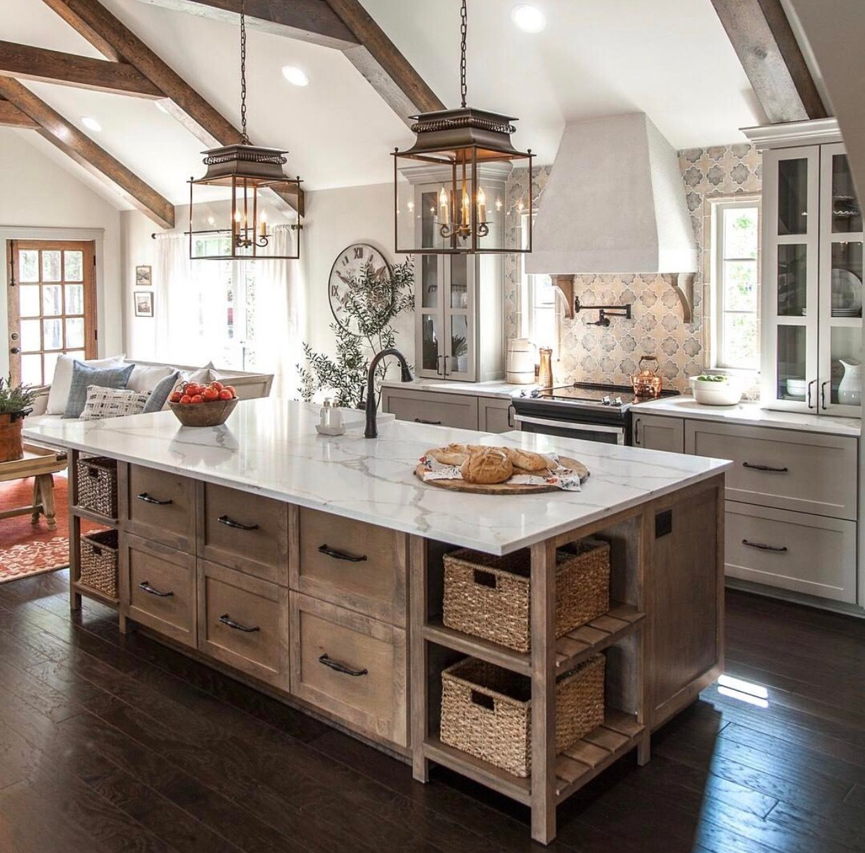 lt wood cabinets flanking white cooktop cabinet similar to farmhouse kitchen design on kitchen cabinets farmhouse style id=34729