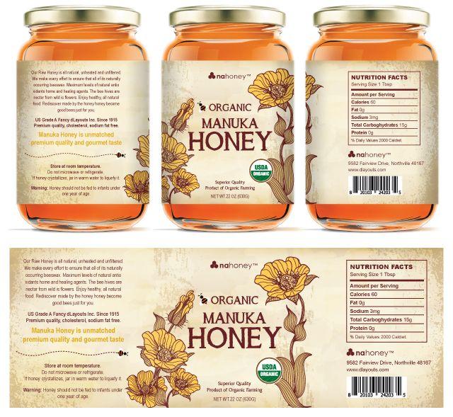Organic Manuka Honey Labels Template Honey Label Honey