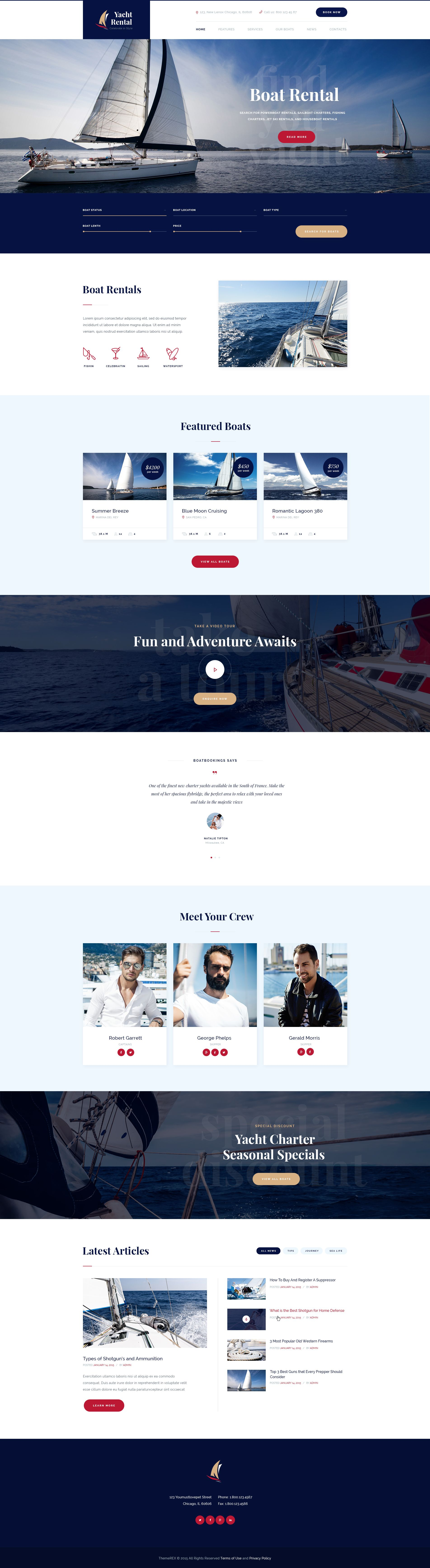 yacht rental is a stylish wordpress theme crafted for an online