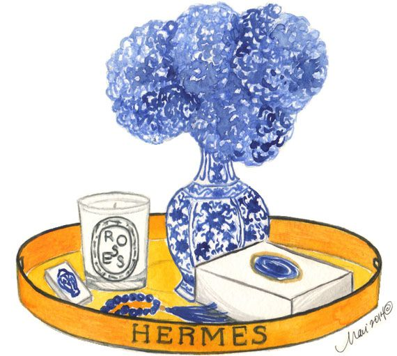 Tray Styling & original illustration by Mari Robeson. #Hermes #Watercolors #Diptyque #ShopTen25 #LaylaGrayce #Bungalow5 #DesignDarling #Flowers #Art #HomeDecor