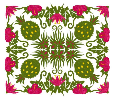 Hawaiian cheater quilt panel