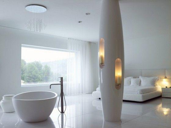 Futuristic Luxurious Bathrooms: White Luxury Bedroom Design In Luxury Futuristic Villa