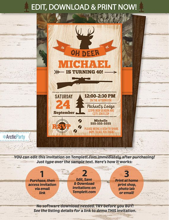 Hunting party invitations hunting birthday party invitation hunting party invitations hunting birthday party invitation hunting theme party invitation instant access edit now with templett stopboris Image collections