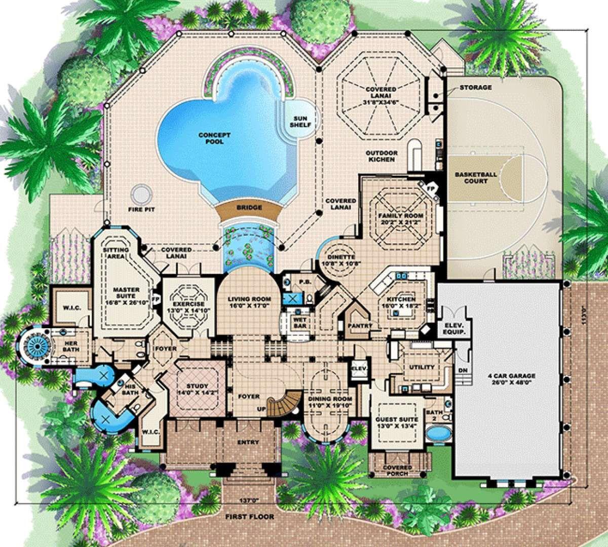 House Plan 1018 00182 Florida Plan 6 295 Square Feet 4 5 Bedrooms 7 Bathrooms Mediterranean Style House Plans Florida House Plans House Plans