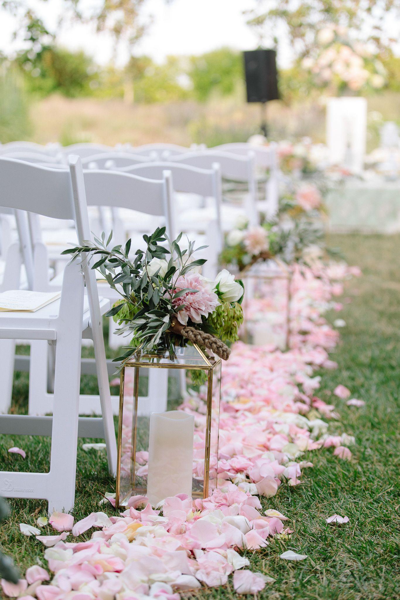 Flower Petal Lined Isle Wedding Lanterns Northern California Wedding California Wedding
