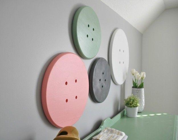 Fun Craft Room Ideas   Giant Button Wall Art