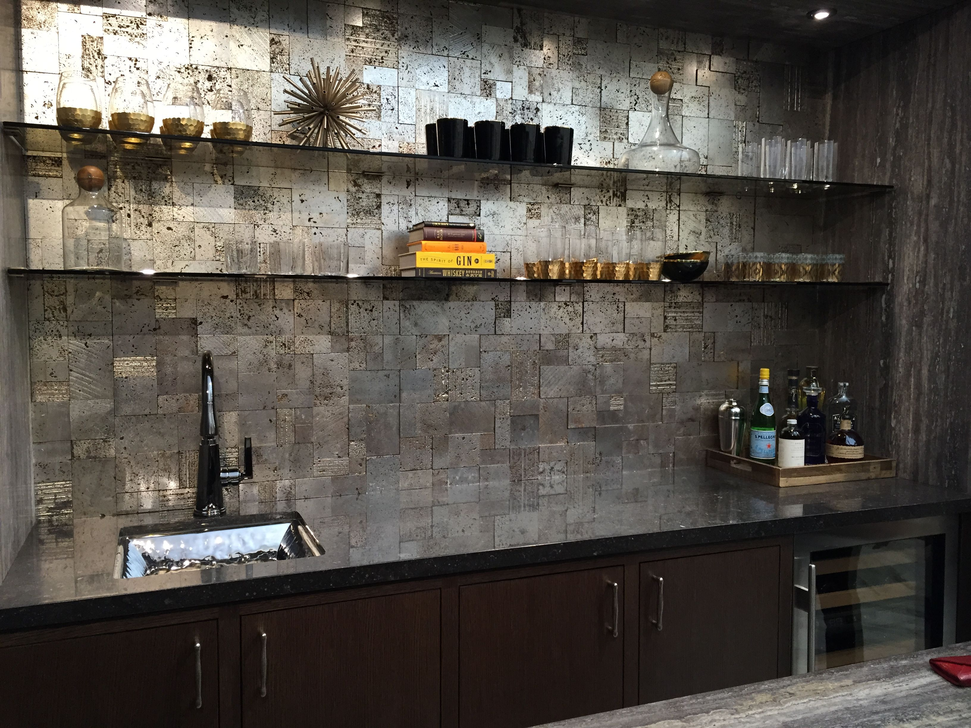 - The Most Beautiful Bar! The Backsplash Tile Is Silver Leaf