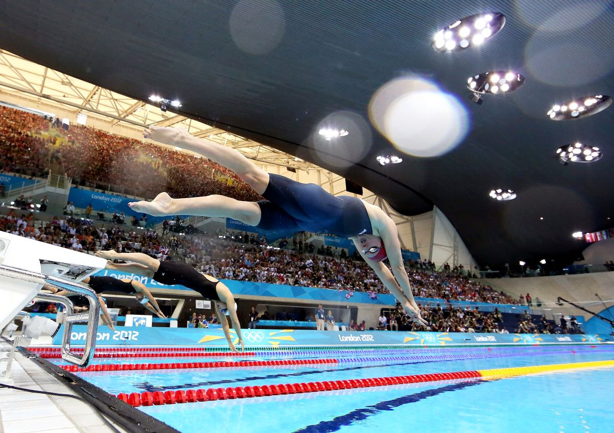 britains rebecca adlington dives off the starting blocks in the womens 800 meter freestyle swimming - Olympic Swimming Starting Blocks