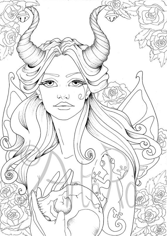 Fairy Colouring page Art Therapy Fantasy Adult by ArteRo | Art ...