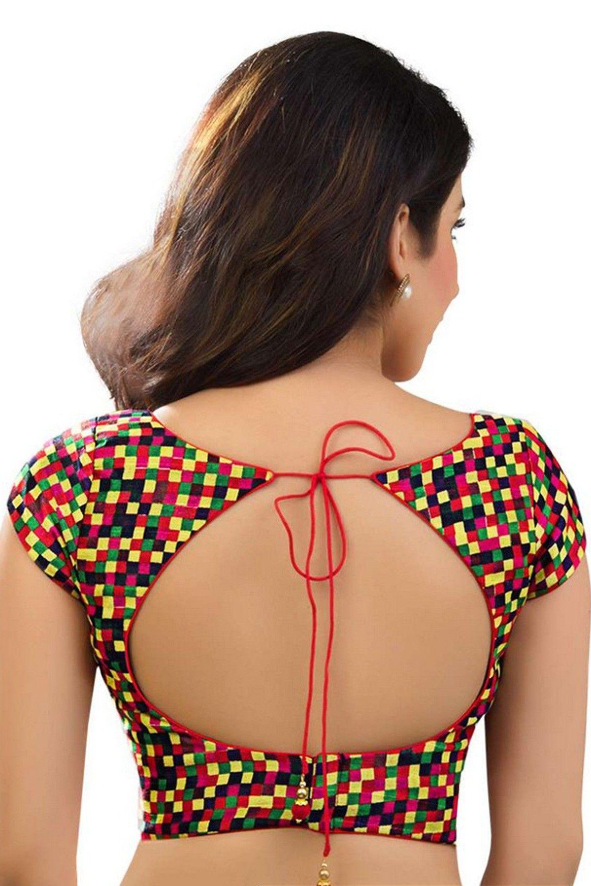 multicoloured cotton silk debonair designer blouse with boat neck