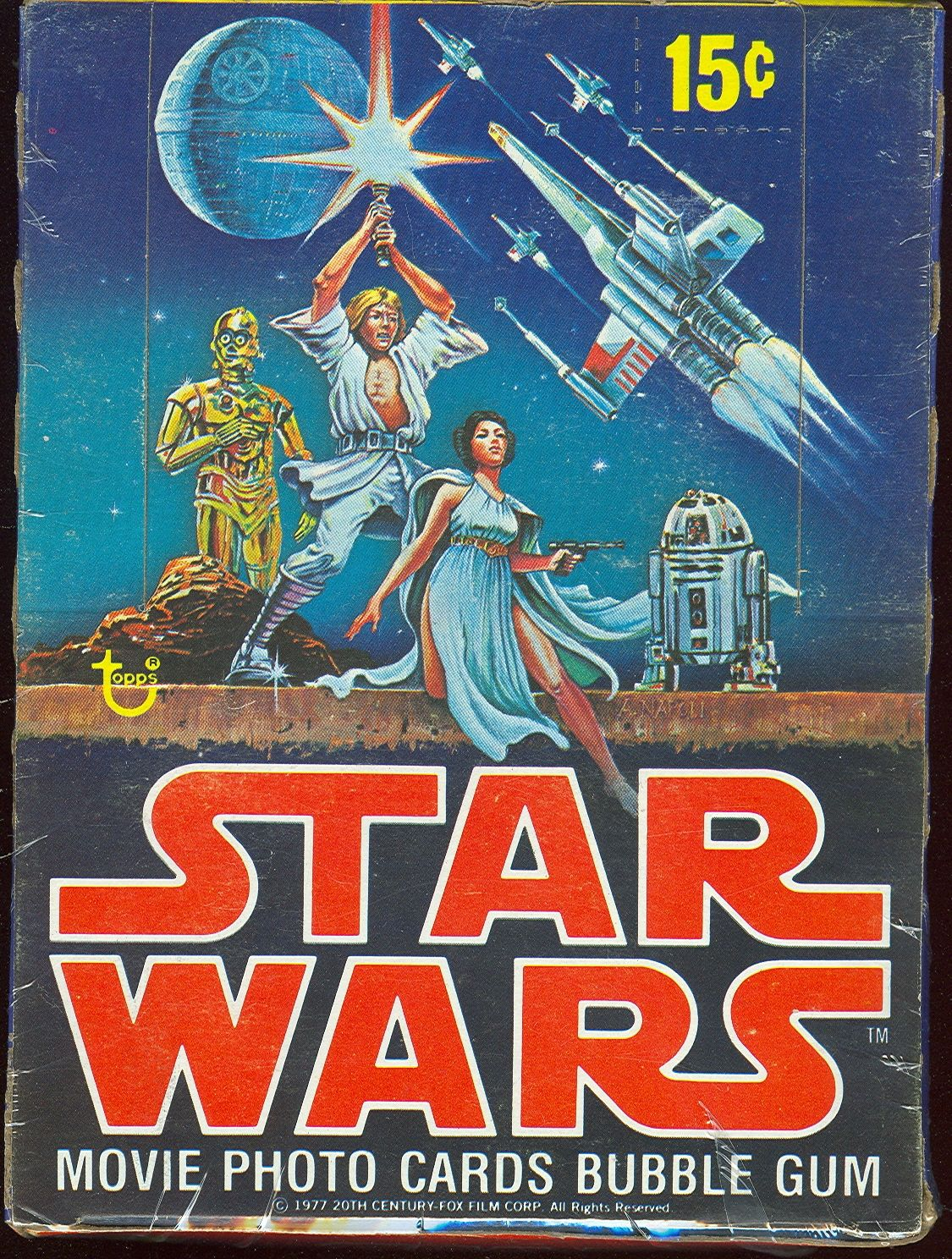Vintage Topps Star Wars Movie Photo Cards with Bubble Gum -- trading cards box design, 1977