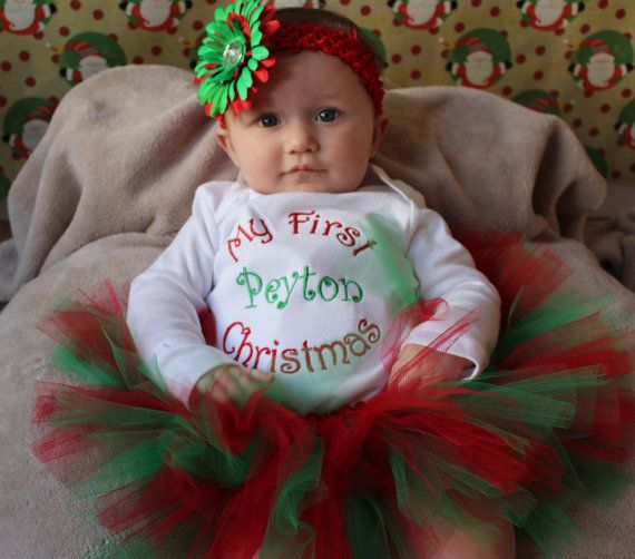 My First Christmas Personalized OUTFIT/ baby/ infant girl/ tutu my first  christmas onesie - My First Christmas Personalized OUTFIT/ Baby/ Infant Girl/ Tutu My