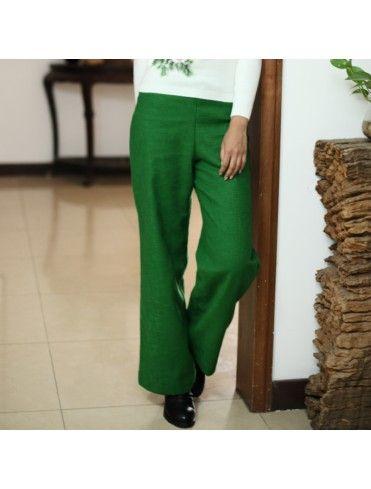 Straight Flax Green Linen Pants