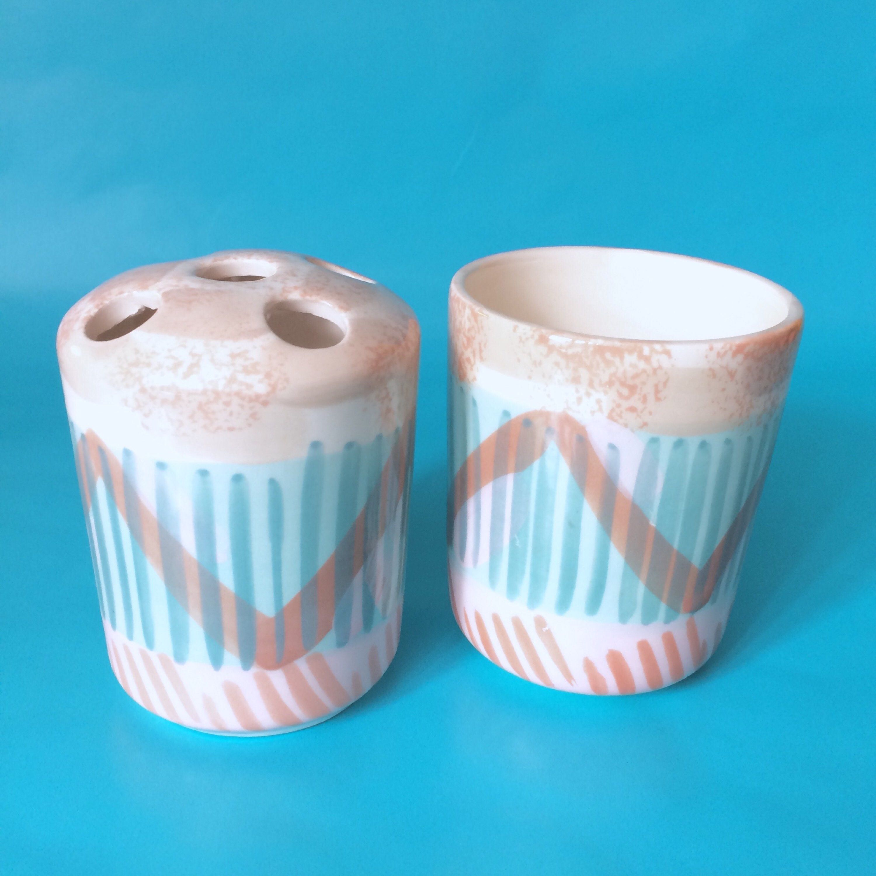 Southwest Bathroom Set, Pastel Toothbrush Holder & Cup, Abstract ...