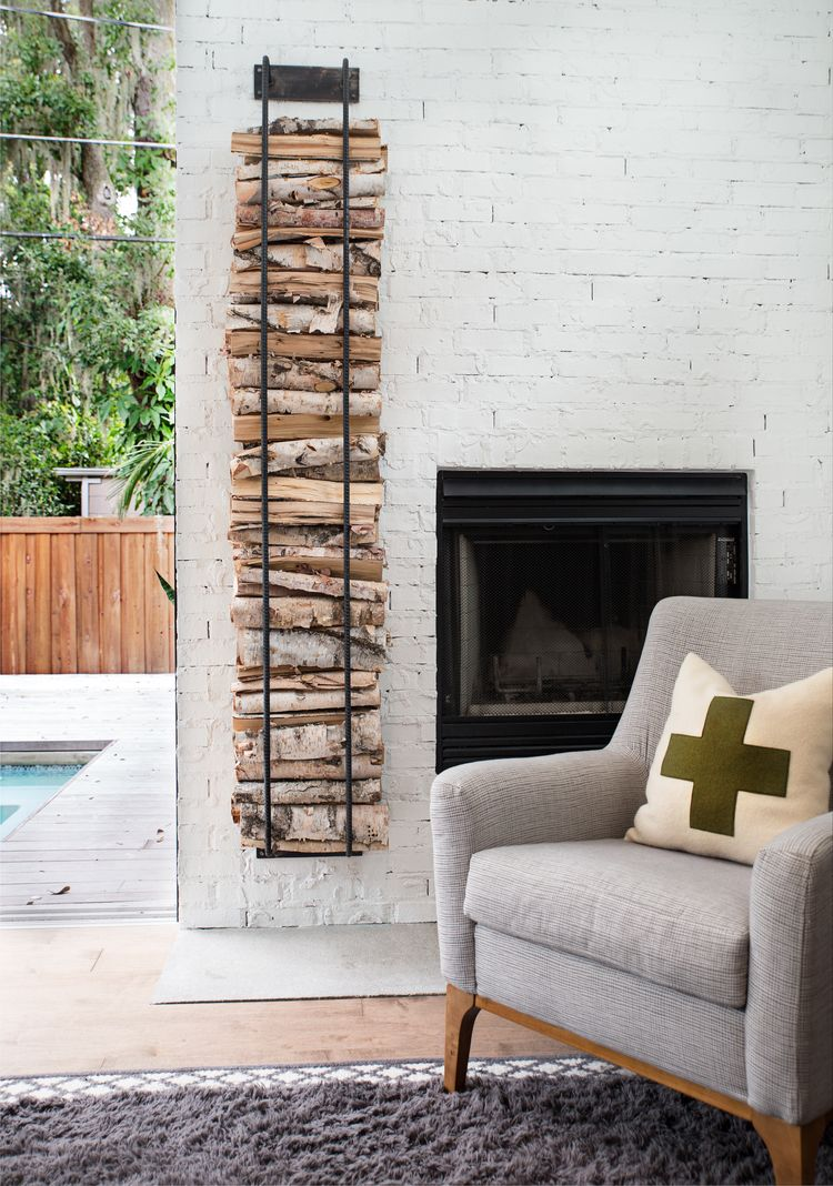 Vertical log holder from steele street studios design company