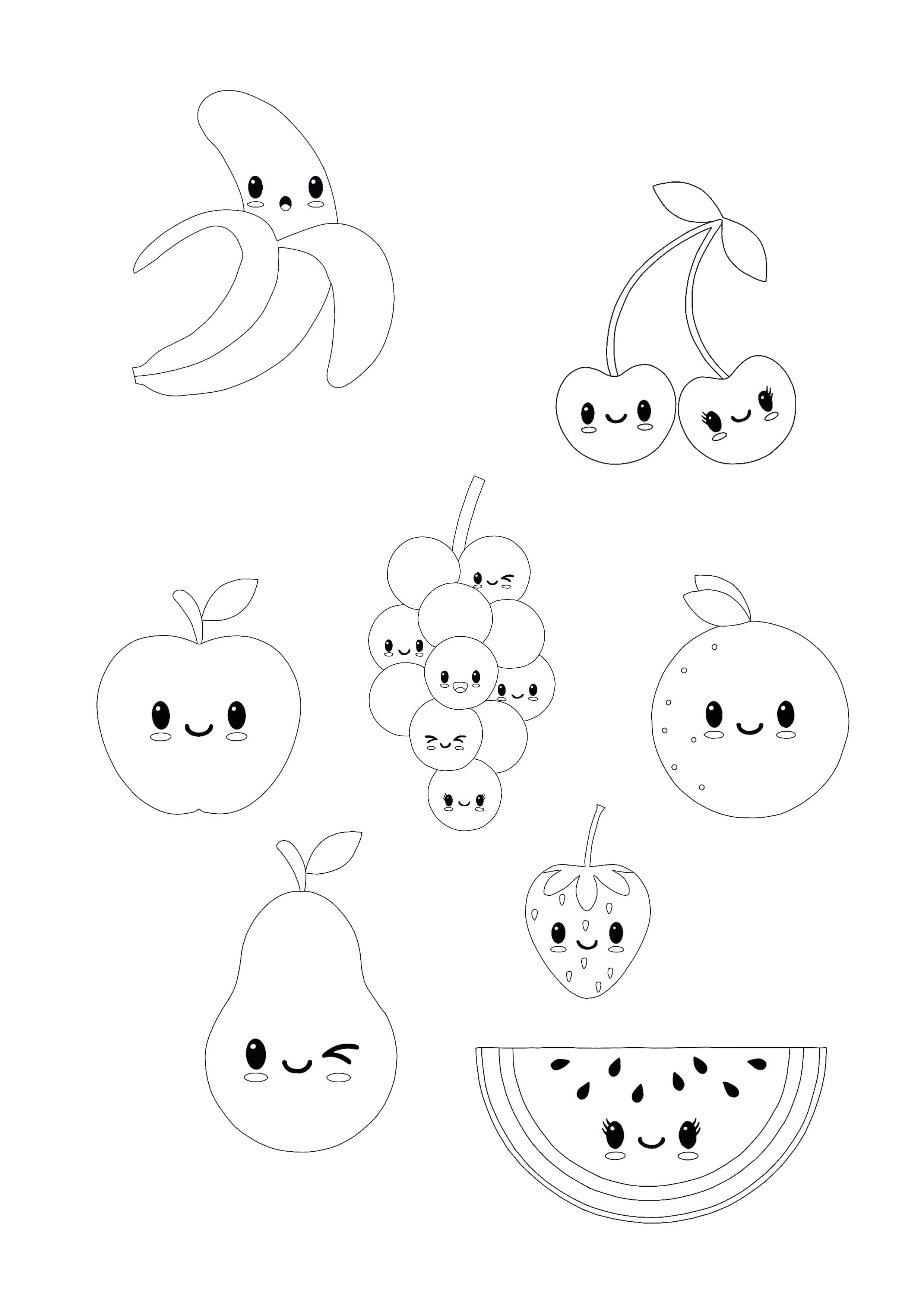 Kawaii Fruits coloring page  Fruit coloring pages, Apple coloring