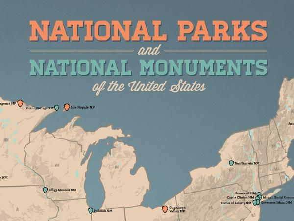US National Parks & National Monuments Map 18x24 Poster | United ...