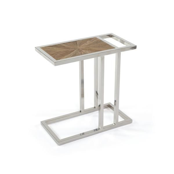 Falco Side Table With Reclaimed Wood Top On Polished Nickel Base