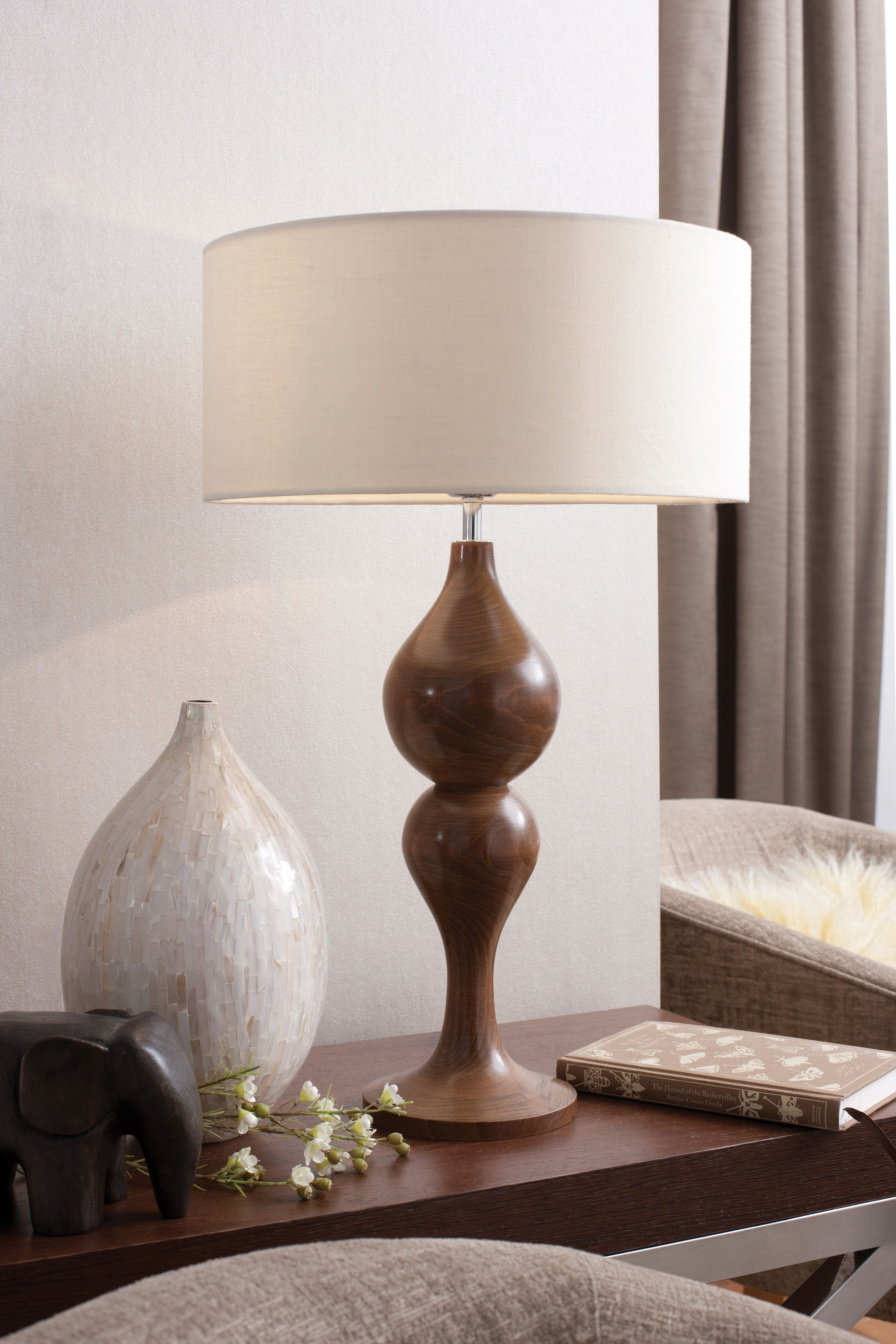 Antique wood table lamps - Marli Antique Oak Medium Table Lamp Turned Alder Wood Table Lamp Hand Finished With Water Based