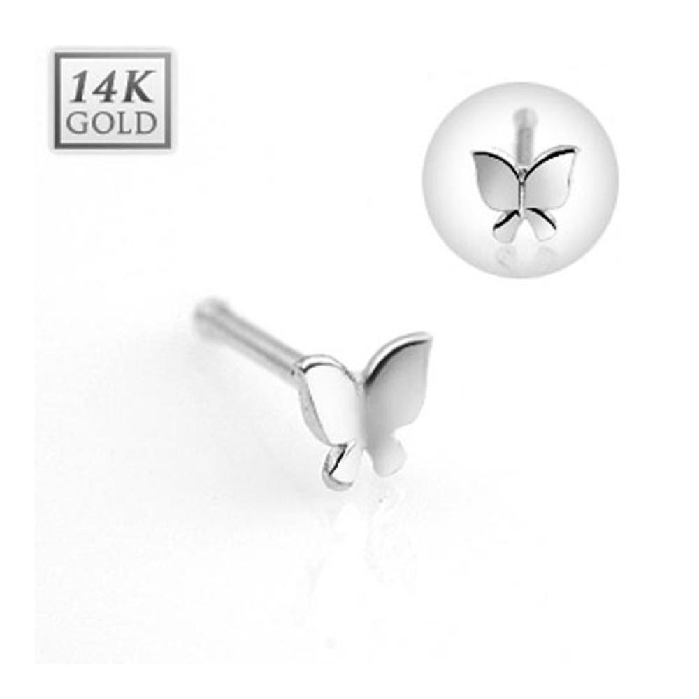 14 Karat Gold Butterfly Nose Stud Ring 20 Ga 516 Long Jewelry
