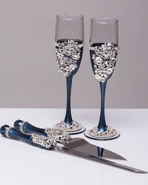 Navy Silver Wedding Gles And Cake Server Set Flutes Cutter Toasting