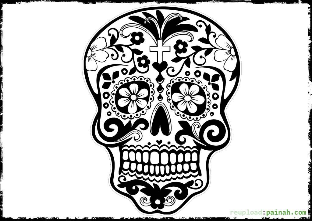 Day Of The Dead Skull Free Coloring Pages Adult Coloring Pages