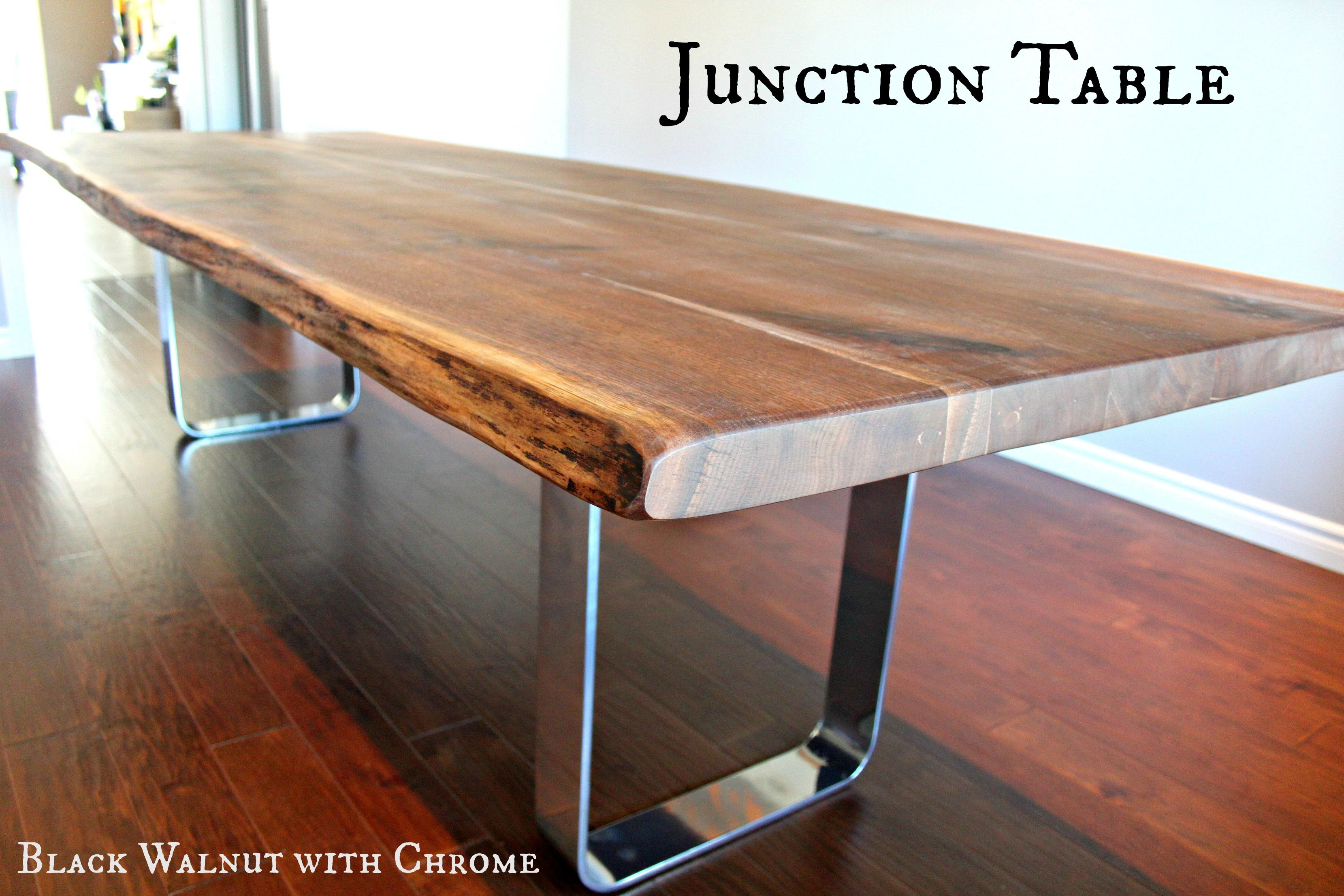 Tables With Metal Bases Live Edge Walnut Dining Table Maple