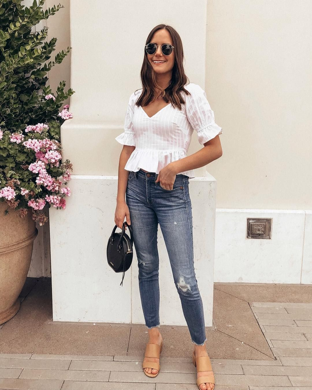 c56bbdab326 Pretty little white top paired with jeans and slides   probably my favorite  outfit combo ever. 🙌🏼Sometimes I try to branch out but...I m…