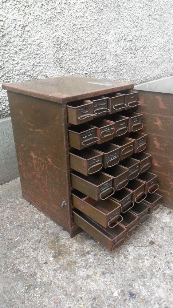 Details About Antique Vintage Industrial Metal 24 Drawer