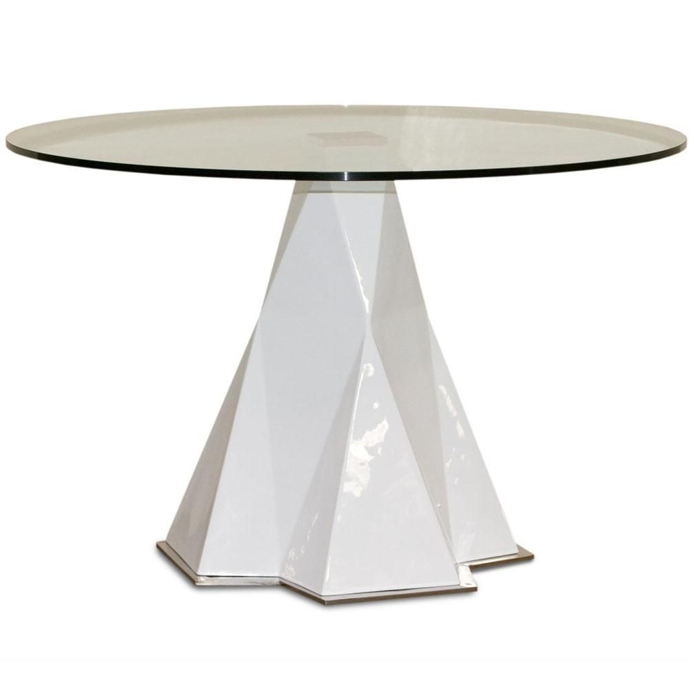 Furniture Round Transparent Glass Table Desgn With White Prism Shape Foot  Design Special Prism Table For
