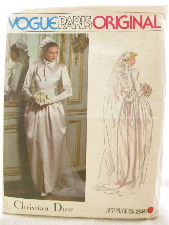Vogue 2545 Vintage Christian Dior Wedding Dress Sewing Pattern Bust 32
