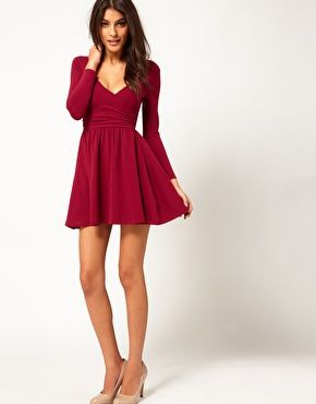 Mini Skater Dress with Bow Detail and Puff Sleeves - Hot pink Asos