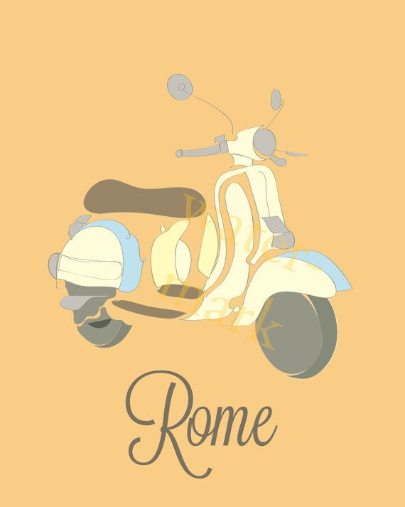 TRAVEL POSTER Vespas Rome Scooters