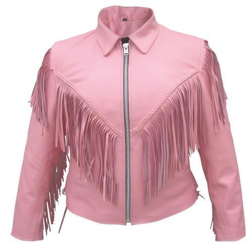 Womens Pink Leather Motorcycle Jacket with Fringe, Braid & Zip-Out ...