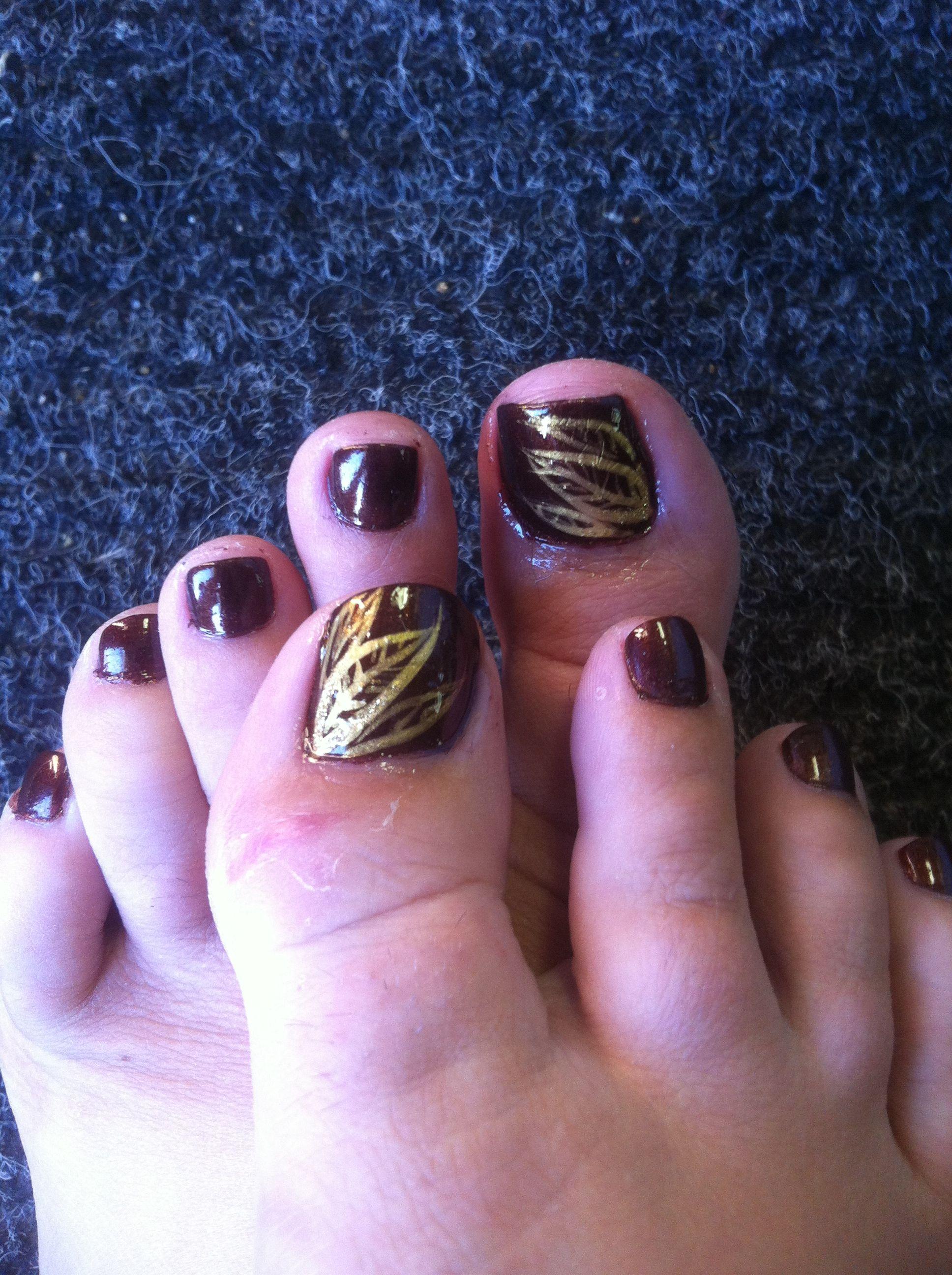 Fall Leaf Toe Nail Art Fall Toe Nails Toe Nail Designs Toe Nail Designs For Fall