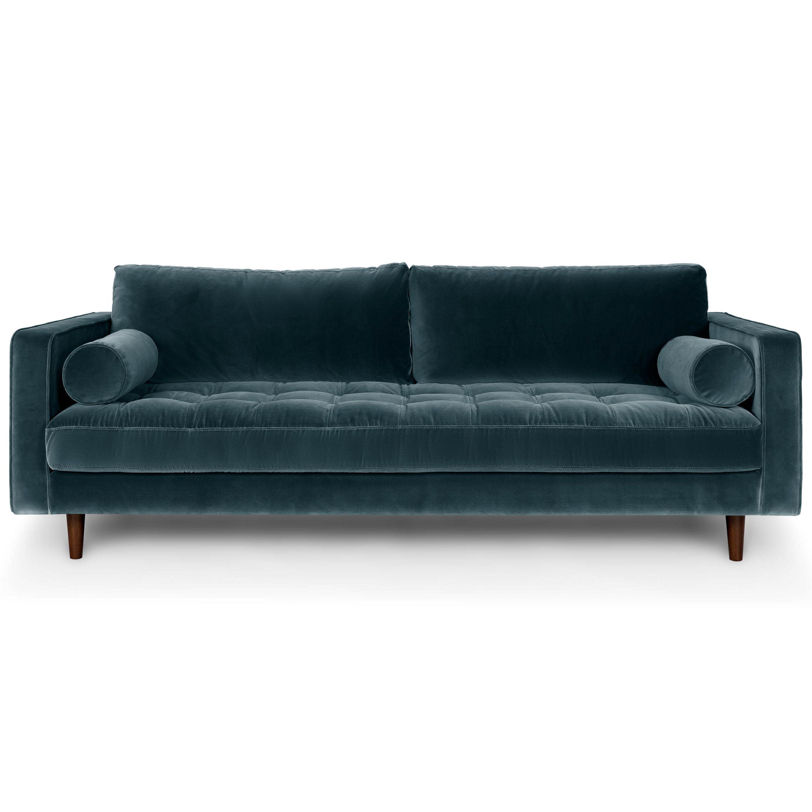 Blue Velvet Mid Century Modern Sofa Upholstered Sven Mid