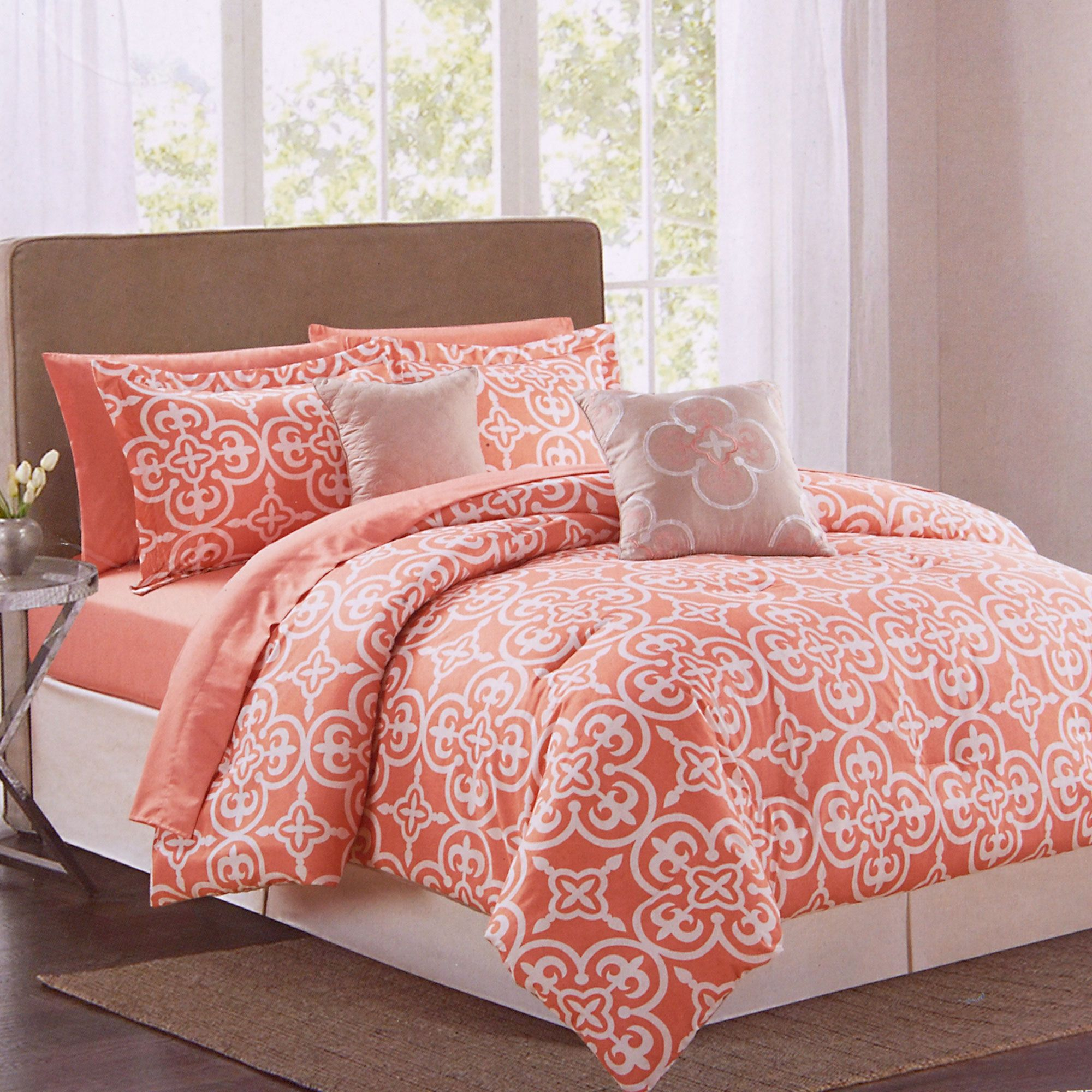 9 Piece Pottia Bedding Set Coral King