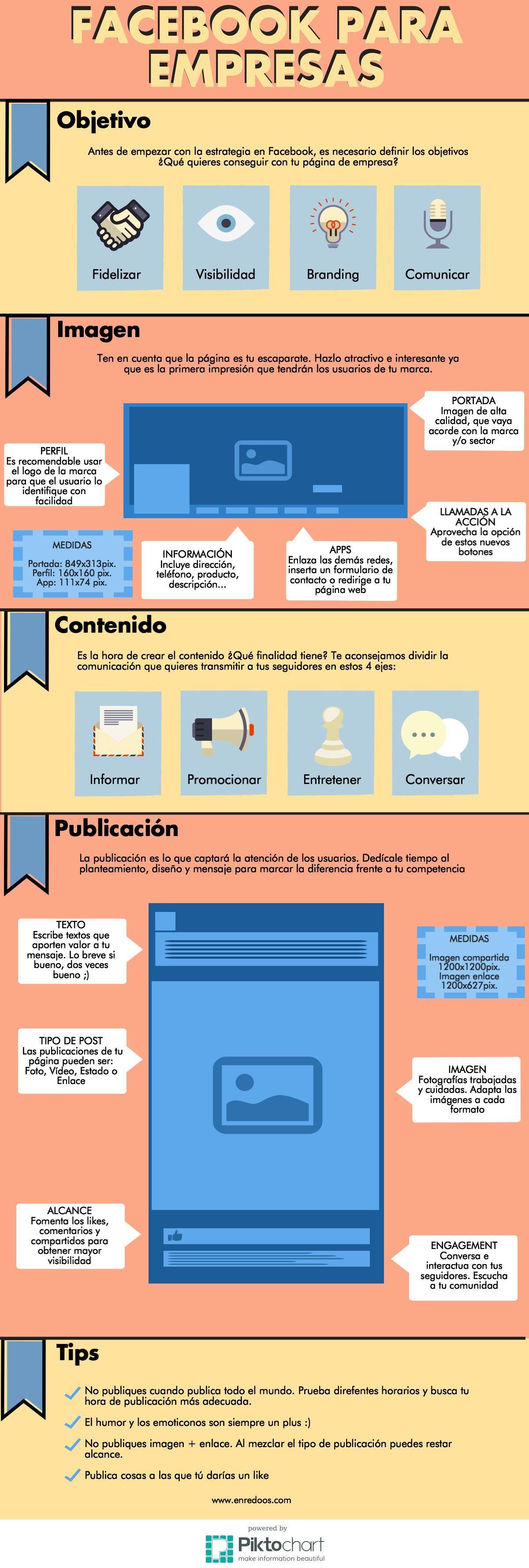 Facebook para empresas. Redes sociales. consejos página de