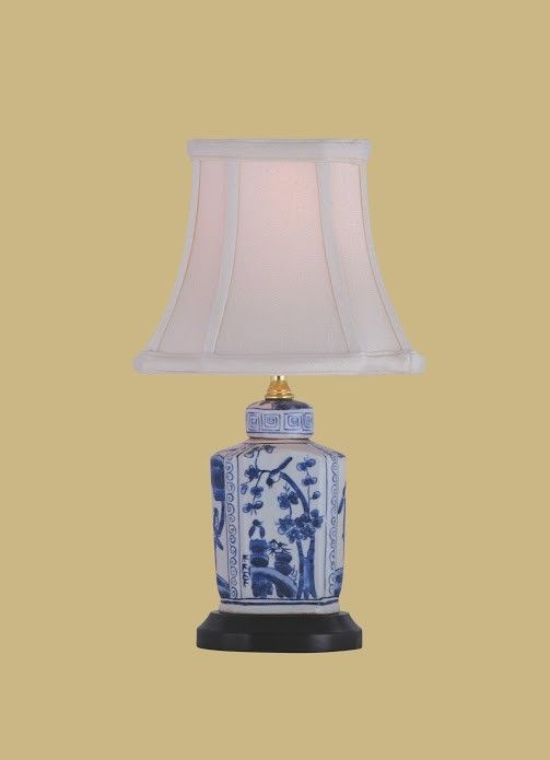 Porcelain ware one light blue and white mini lamp east enterprise shaded table lamps
