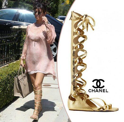 fbaf230b4ad Kourtney in Chanel Gladiator Sandals.