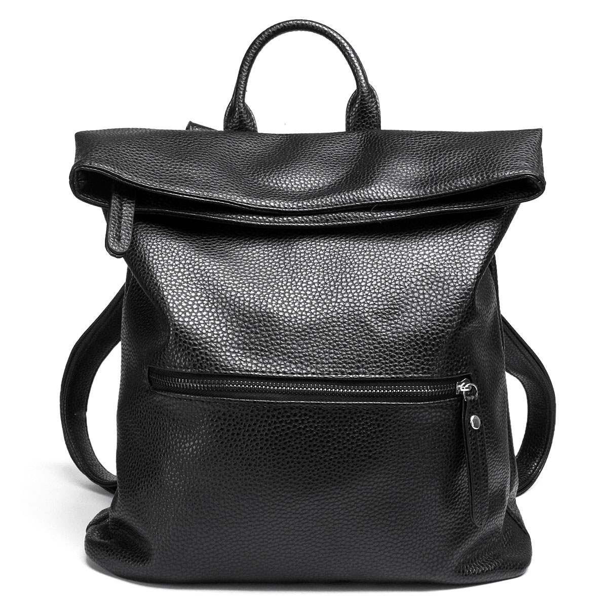 Folding Leather Backpacks Women School Bags Fashion Korean Style Bolsa Deformable Bag Large Capacity Dual Use Mochila