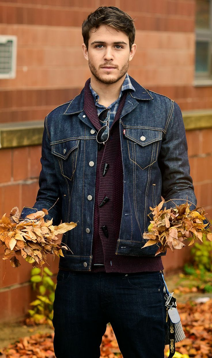 I love the denim jacket over that burgundy sweater. | What I Want ...