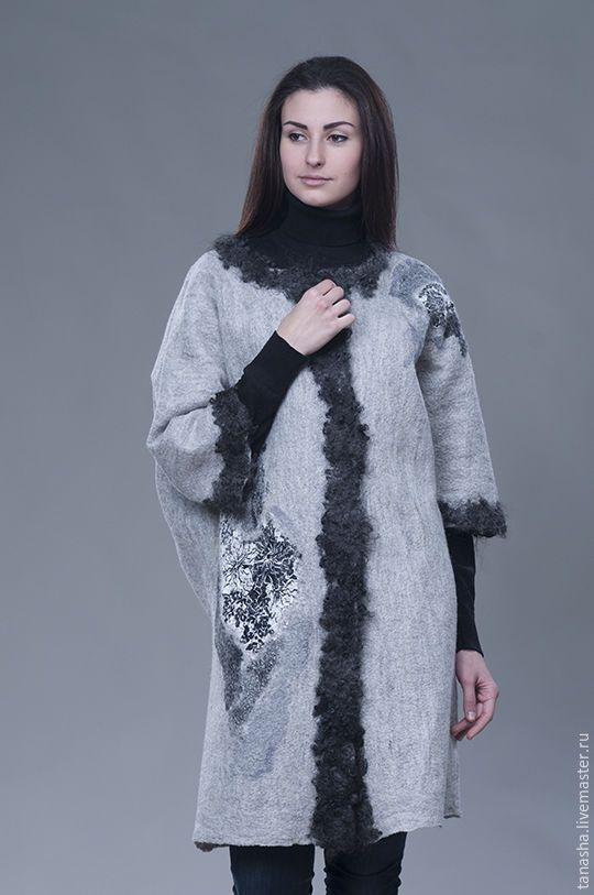 """Купить Валяное пальто не маленького размера """"Gray"""" - валяный жакет, валяный кардиган, Валяние, одежда"""