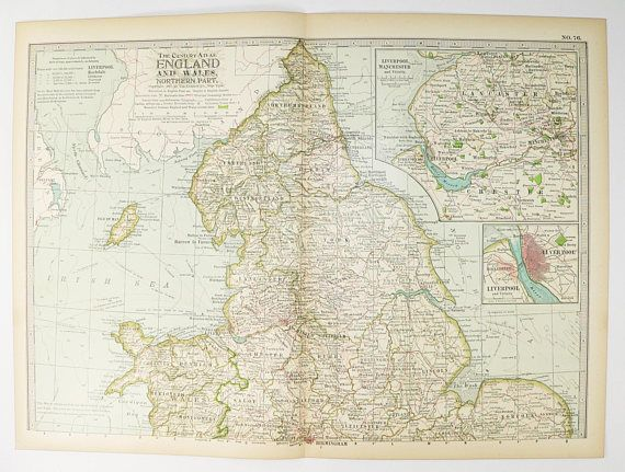1899 North England Map Wales Antique Map Liverpool Map Manchester