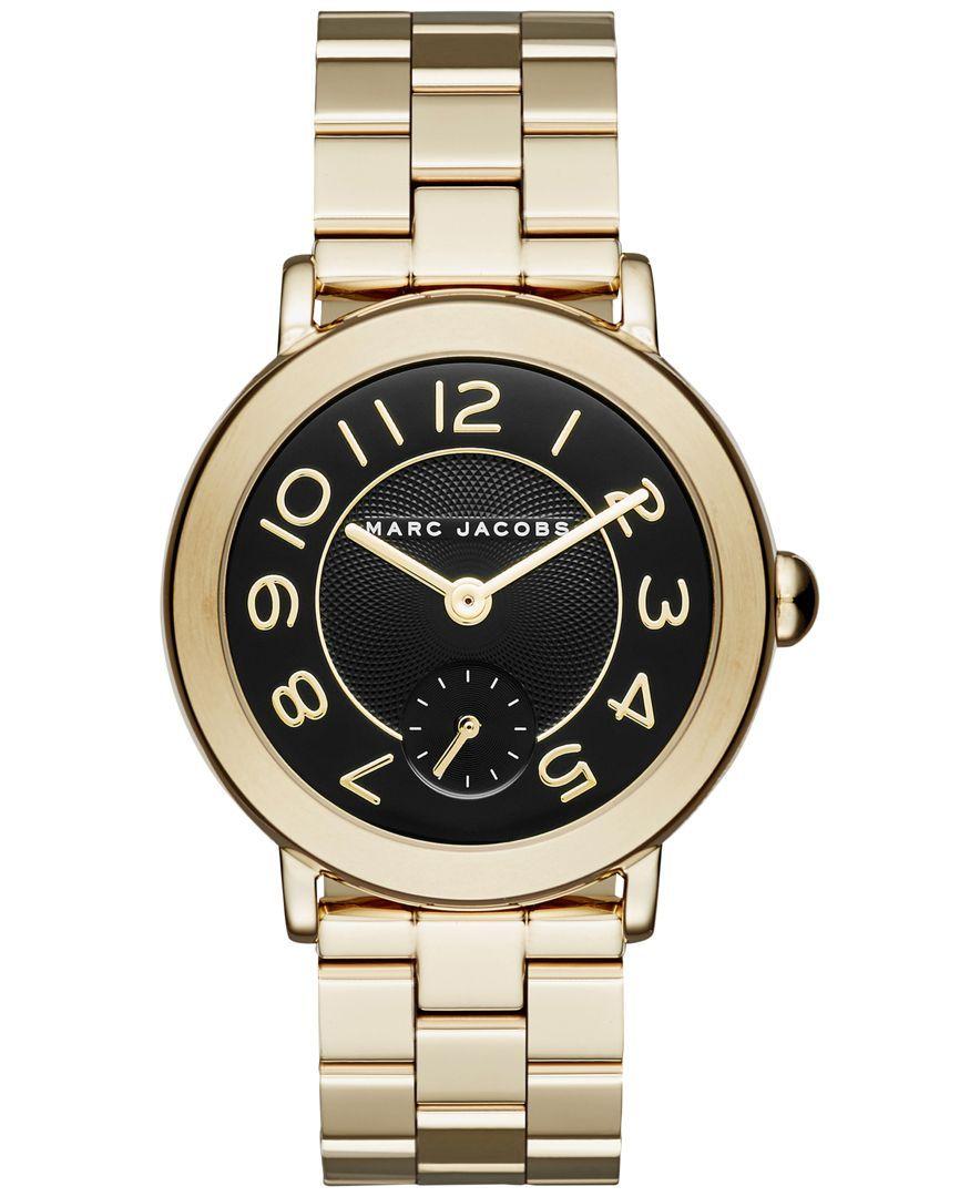 c043e4c73e1d Marc Jacobs Women s Riley Gold-Tone Stainless Steel Bracelet Watch 36mm  MJ3512
