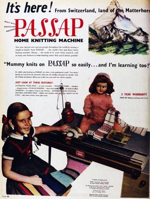 The Passap home knitting machine, 1960   Passap   Pinterest