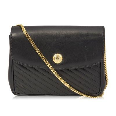 Celine vintage black leather shoulder bag. from Rewind