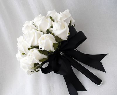 Wedding flowers - posy bouquet in ivory roses & black ribbon brides ...