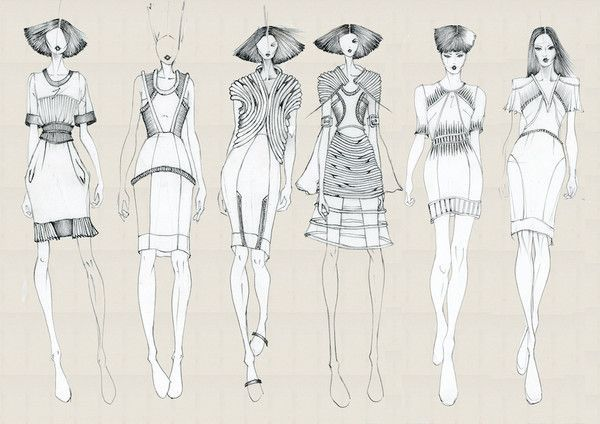 Line Art Figures : Task fashion line up with relative flat drawings on photoshop